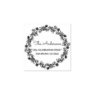 Rustic Floral Wreath & Family Name Return Address Rubber Stamp