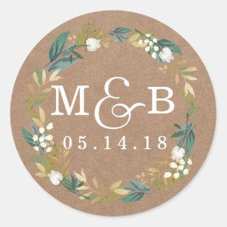 Rustic Floral Wreath Wedding Monogram Sticker