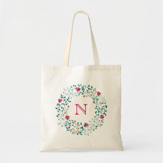 Rustic Floral Wreath | Wedding Monogram Tote Bag