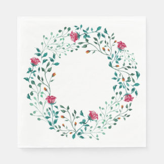 Rustic Floral Wreath | Wedding Paper Napkin