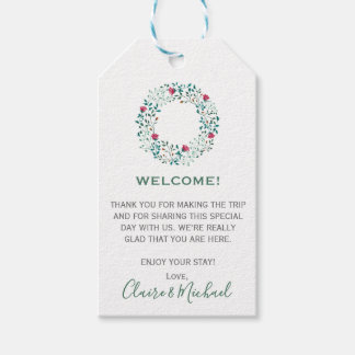 Rustic Floral Wreath   Welcome Wedding Gift Tags