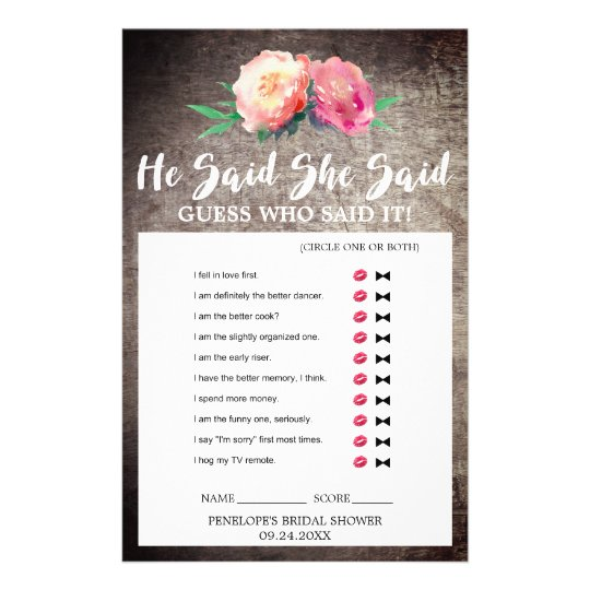 "Rustic Flower Bouquet ""He Said She Said"" Quiz Game Custom Flyer"