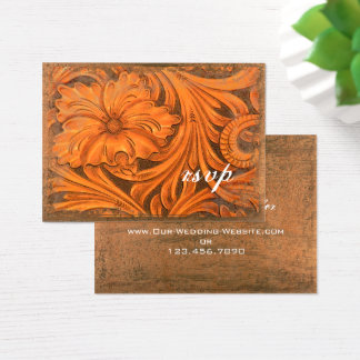 Rustic Flower Country Western Wedding RSVP Card