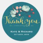 Rustic Flower Script Thank You Wedding Sticker