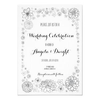 Rustic Flower Wedding Invitation