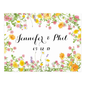 Rustic flower wreath Save the date Postcard