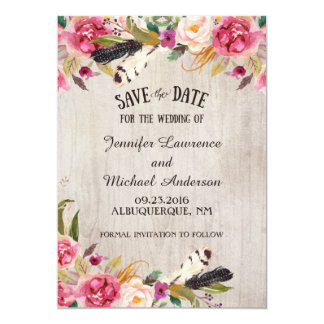 Rustic Flowers and Feathers Save the Date Card