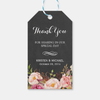 Rustic Flowers Chalkboard Decor Wedding Thank You Pack Of Gift Tags