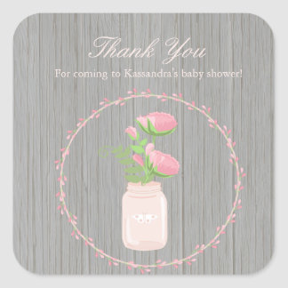 Rustic Flowers In A Vase Baby Shower Sticker