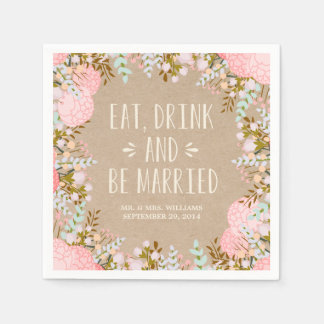Rustic Flowers   Personalized Paper Napkins