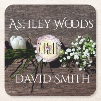 Rustic Flowers Save The Date Coaster
