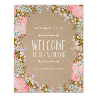 Rustic Flowers | Wedding Reception Sign Poster