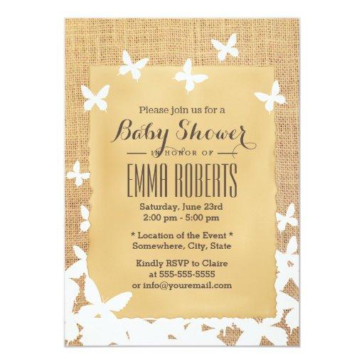 flying butterflies burlap baby shower 5 x 7 invitation card
