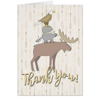Rustic Forest animals Thank you note card