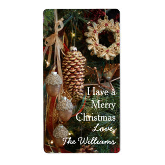 Rustic Forest Christmas Holiday Ornaments Shipping Label