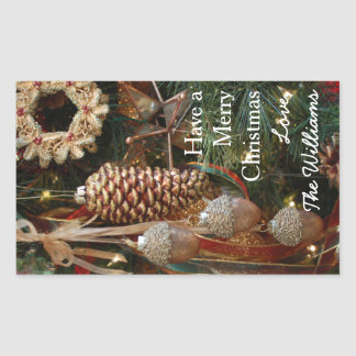 Rustic Forest Christmas Holiday Ornaments Sticker