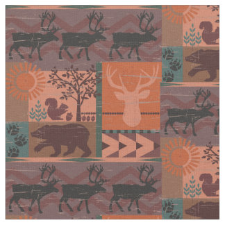Rustic Forest Fall Print with Animals Fabric