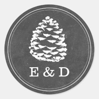 Rustic Forest Pine Cones Chalkboard Wedding Favor Round Sticker
