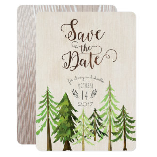 Rustic Forest Save the Dates Card