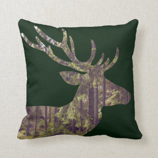 Rustic Forest Scene Deer on Dark Green Throw Pillow
