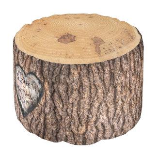 Rustic Forest Tree Stump   Wedding Heart Pouf