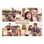 Rustic Four Photo Frame Save the Date Announcement