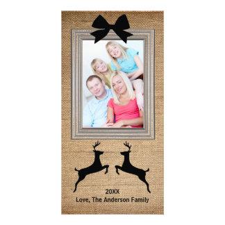 Rustic Framed Burlap Reindeer - Photo Card