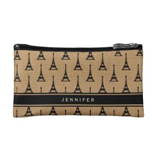 Rustic French Burlap Paris Eiffel Tower Cosmetic Bag