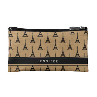 Rustic French Burlap Paris Eiffel Tower Makeup Bag