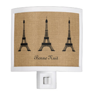 Rustic French Burlap Paris Eiffel Tower Pattern Nite Light