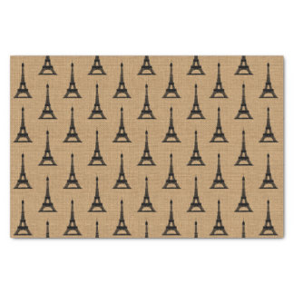 Rustic French Burlap Paris Eiffel Tower Pattern Tissue Paper