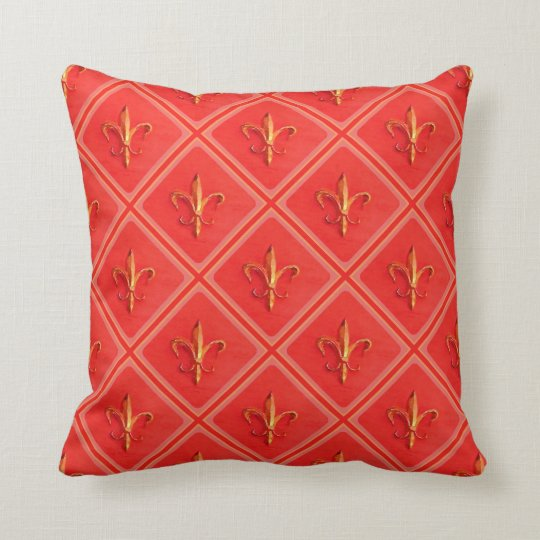 Rustic French country fleur de lis diamond pattern Throw Pillow