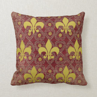 Rustic French country style with fleur de lis Throw Pillow