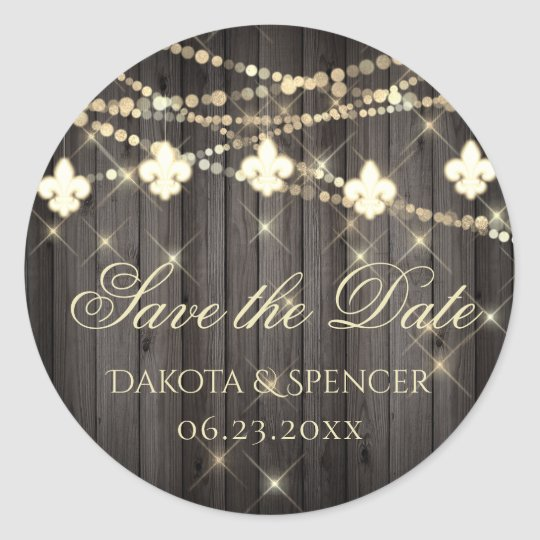 Rustic French Save the Date | Fleur de Lis Lights Classic Round Sticker