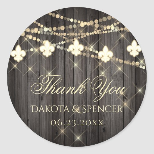 Rustic French Thank You | Fleur de Lis Fairy Light Classic Round Sticker