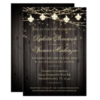 Rustic French Wedding | Fleur de Lis String Lights Card