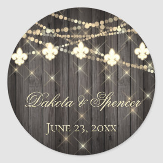 Rustic French Wedding | Fleur de Lis String Lights Classic Round Sticker