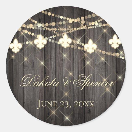 Rustic French Wedding | Fleur de Lis String Lights Classic Round Sticker
