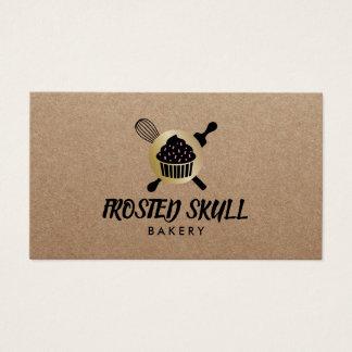 Rustic Frosted Skull Bakery Custom Crossbones Logo Business Card