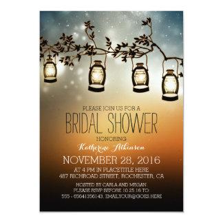 "rustic garden lights - lanterns bridal shower 5"" x 7"" invitation card"