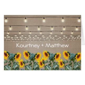 Rustic Garden Sunflowers Evening Reception Card