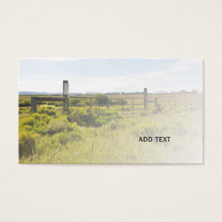 rustic gate and fence by a prairie in Colorado Business Card