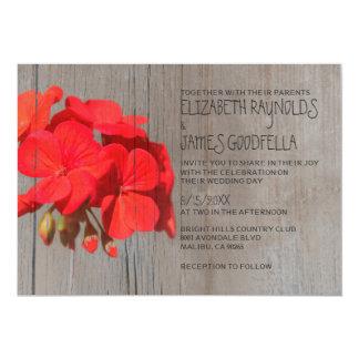 Rustic Geranium Wedding Invitations