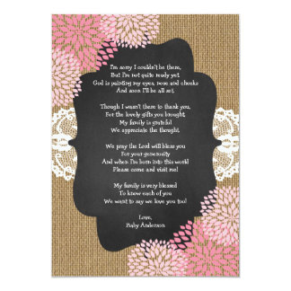 Rustic girl baby shower thank you note with poem card