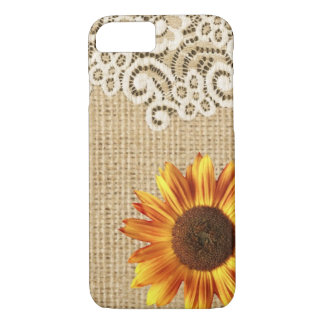 rustic girly western country sunflower burlap lace iPhone 8/7 case