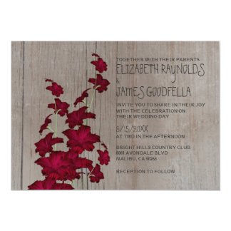 Rustic Gladiolas Wedding Invitations