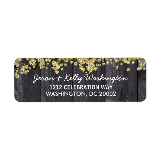 Rustic Glam Confetti | Faux Gold Glitter Return Address Label