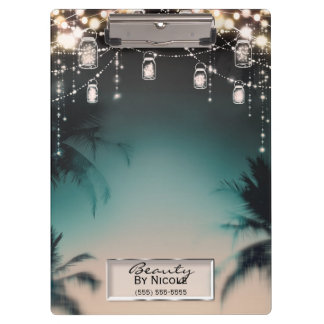 Rustic Glam Mason Jar Lights Glam Personalized Clipboard