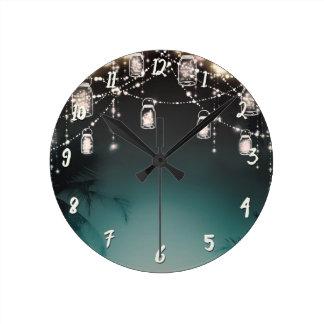 Rustic Glam Palm Trees & Mason Jar Lights Round Clock
