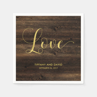 Rustic Glam | Wood and Faux Gold Look Wedding Paper Napkin